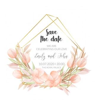 Plantilla de tarjeta de invitación de boda con flores de acuarela