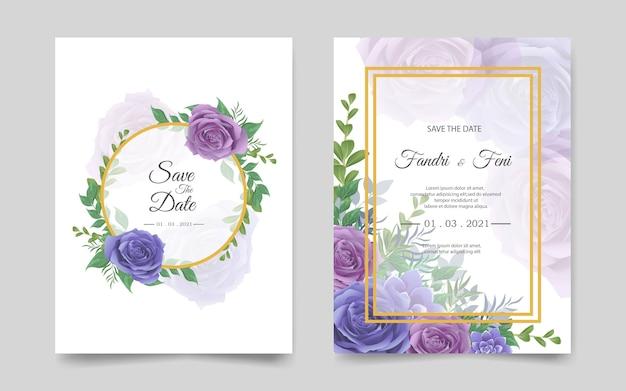 Plantilla de tarjeta de invitación de boda con flores azules y púrpuras