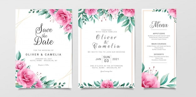 Plantilla de tarjeta de invitación de boda flores con borde floral acuarela