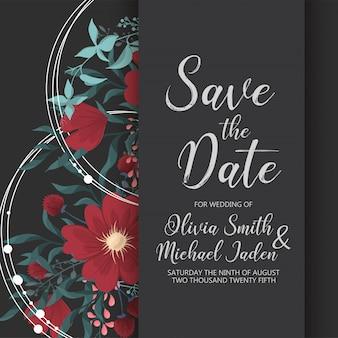 Plantilla de tarjeta de invitación de boda con flores de colores.