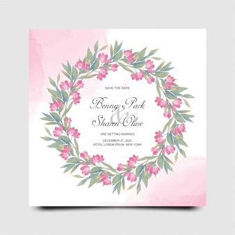 Plantilla de tarjeta de invitación de boda con flores rojas de acuarela