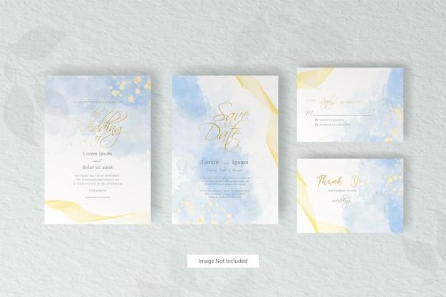 Plantilla de tarjeta de invitación de boda fluida abstracta con decoración de acuarela líquida pintada a mano