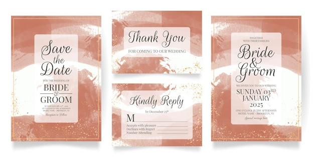 Plantilla de tarjeta de invitación de boda con fondo de acuarela