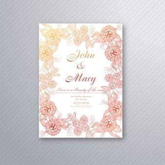 Plantilla de tarjeta de invitación de boda con fondo floral decorativo