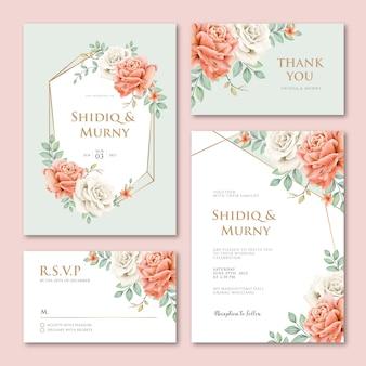 Plantilla de tarjeta de invitación de boda geométrica con hermosas flores de peonías