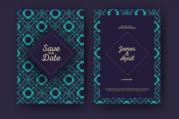 Plantilla de tarjeta de invitación de boda geométrica mandala