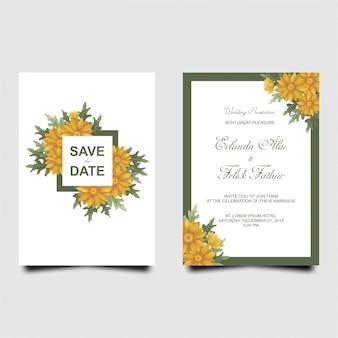 Plantilla de tarjeta de invitación de boda girasol