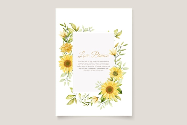 Plantilla de tarjeta de invitación de boda de girasoles de acuarela