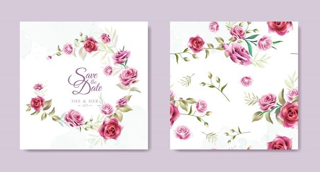 Plantilla de tarjeta de invitación de boda guirnalda floral