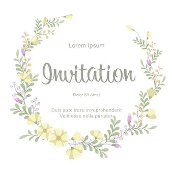 Plantilla de tarjeta de invitación de boda con guirnalda de flores frescas