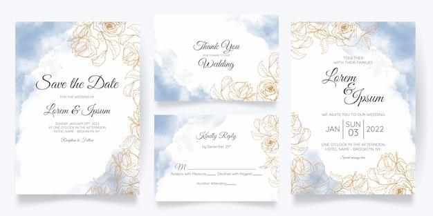 Plantilla de tarjeta de invitación de boda hermosa acuarela con decoración floral dorada
