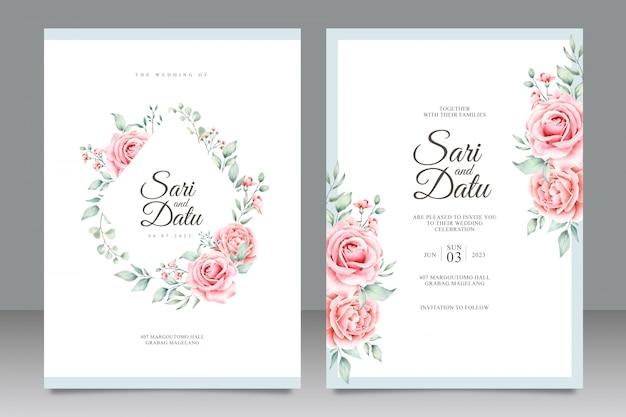 Plantilla de tarjeta de invitación de boda con hermosa acuarela floral
