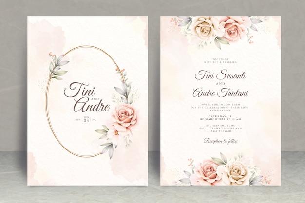 Plantilla de tarjeta de invitación de boda hermosa acuarela floral