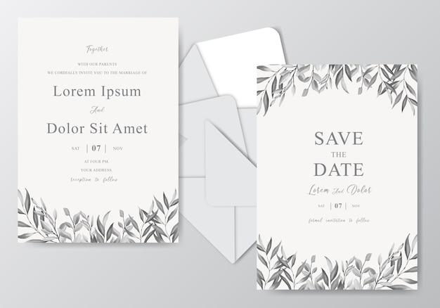 Plantilla de tarjeta de invitación de boda hermosa acuarela con follaje monocromo