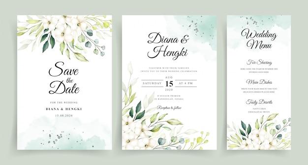 Plantilla de tarjeta de invitación de boda con hermosa acuarela verde