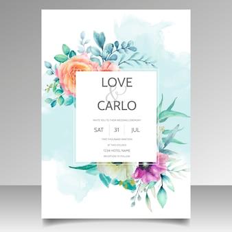 Plantilla de tarjeta de invitación de boda hermosa corona floral acuarela