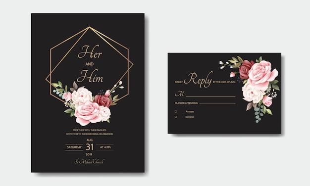 Plantilla de tarjeta de invitación de boda hermosa corona floral
