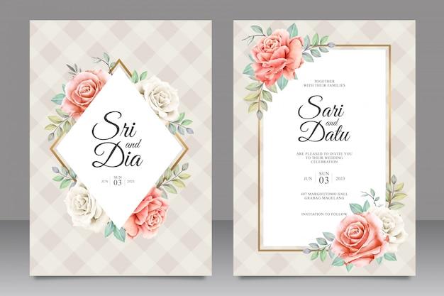Plantilla de tarjeta de invitación de boda hermosa con decoración floral