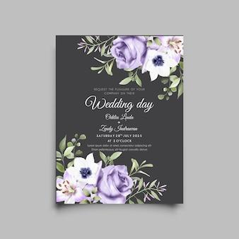 Plantilla de tarjeta de invitación de boda hermosa flor púrpura