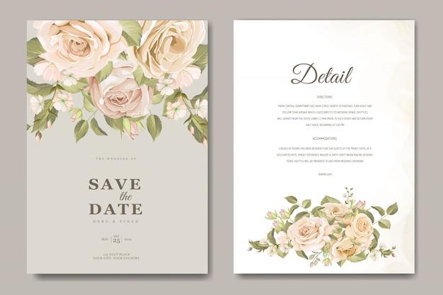 Plantilla de tarjeta de invitación de boda hermosa con flores y hojas