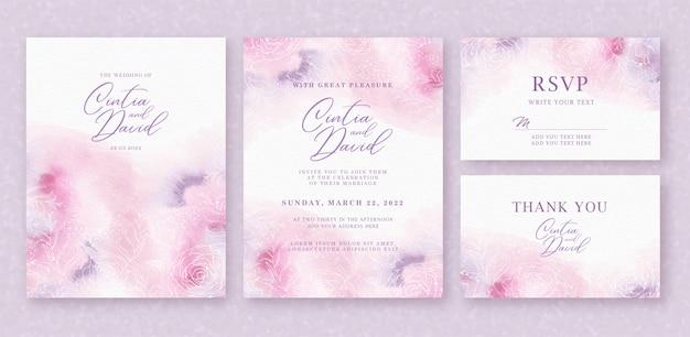 Plantilla de tarjeta de invitación de boda hermosa con fondo abstracto rosa púrpura