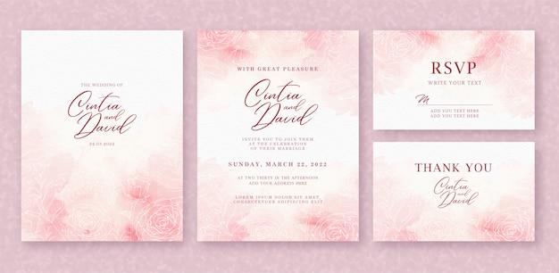 Plantilla de tarjeta de invitación de boda hermosa con fondo de acuarela y flor rosa splash