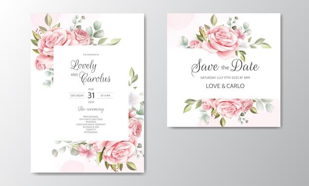 Plantilla de tarjeta de invitación de boda hermosa guirnalda floral