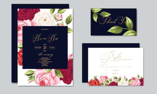 Plantilla de tarjeta de invitación de boda hermosa con hojas florales