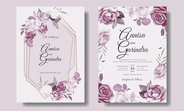Plantilla de tarjeta de invitación de boda hermosa marco floral
