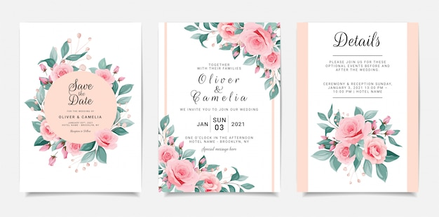 Plantilla de tarjeta de invitación de boda hermosa con marco de flores y borde