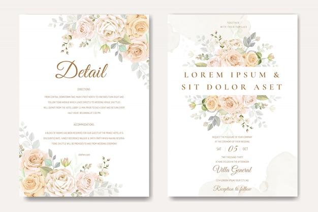 Plantilla de tarjeta de invitación de boda hermosa con rosas blancas y amarillas