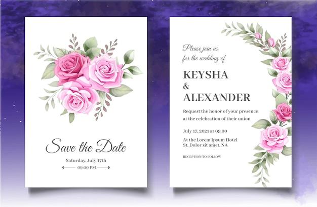 Plantilla de tarjeta de invitación de boda hermosa rosas rosadas