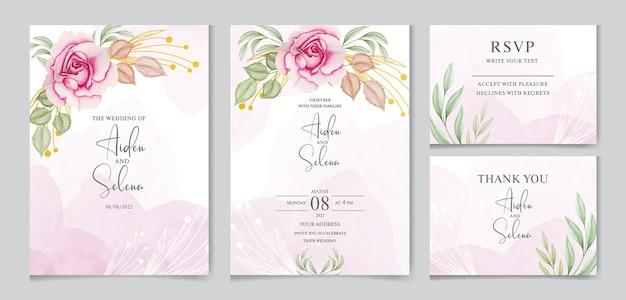 Plantilla de tarjeta de invitación de boda hermosa con salpicaduras de acuarela