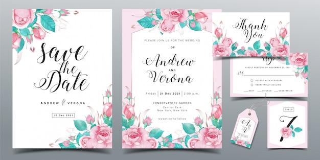 Plantilla de tarjeta de invitación de boda hermosa en tema de color rosa suave con decoración de acuarela de rosas rosadas