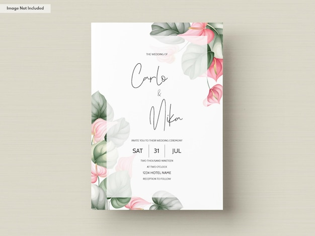Plantilla de tarjeta de invitación de boda hermosa