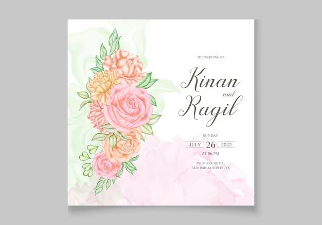 Plantilla de tarjeta de invitación de boda con hermosas flores de colores
