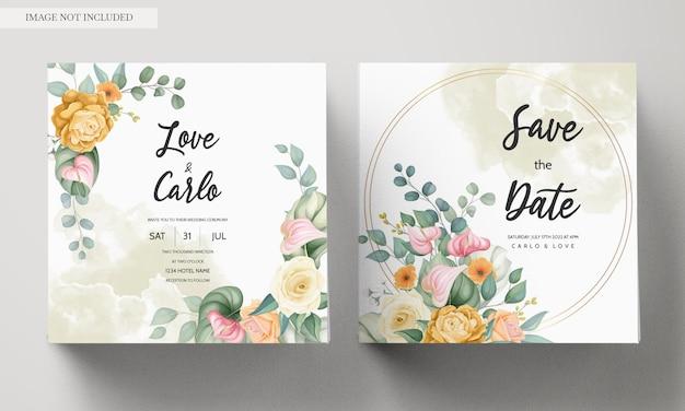 Plantilla de tarjeta de invitación de boda con hermosas flores coloridas florecientes