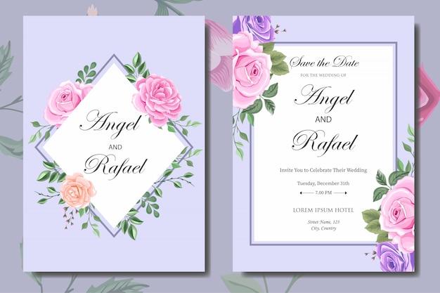 Plantilla de tarjeta de invitación de boda con hermosas flores y hojas