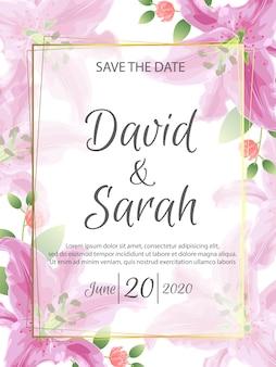 Plantilla de tarjeta de invitación de boda con hermosas flores