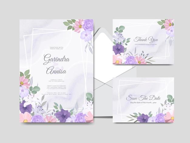Plantilla de tarjeta de invitación de boda con hermosas hojas florales coloridas premium