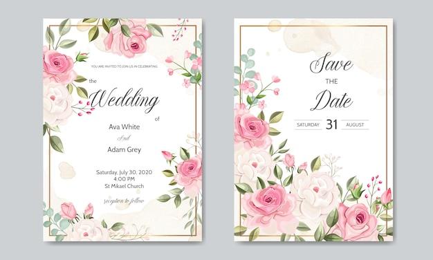 Plantilla de tarjeta de invitación de boda con hermosas hojas florales