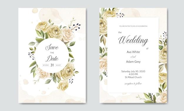 Plantilla de tarjeta de invitación de boda hermosas hojas florales