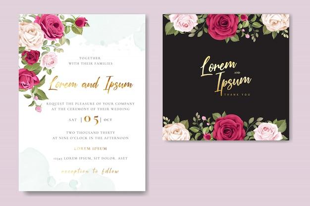Plantilla de tarjeta de invitación de boda con hermosas rosas rosadas
