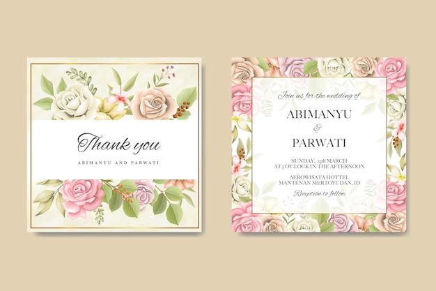Plantilla de tarjeta de invitación de boda con hermosas rosas