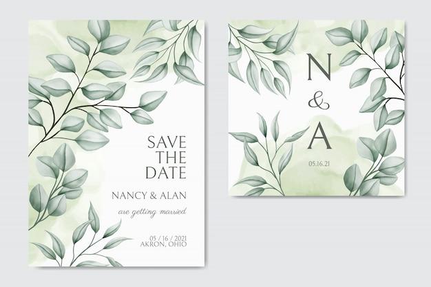 Plantilla de tarjeta de invitación de boda con hermoso fondo decorativo floral