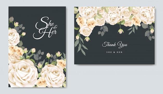 Plantilla de tarjeta de invitación de boda hermoso marco floral