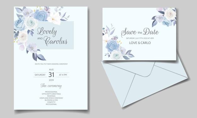 Plantilla de tarjeta de invitación de boda con hermoso marco floral