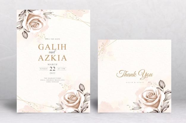 Plantilla de tarjeta de invitación de boda hermoso ramo