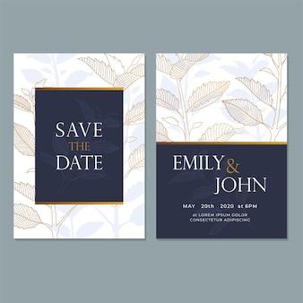 Plantilla de tarjeta de invitación de boda, con hoja y diseño floral.