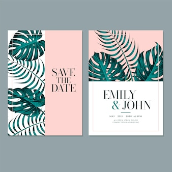 Plantilla de tarjeta de invitación de boda con hoja